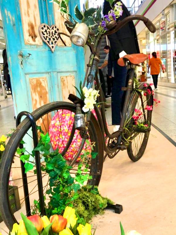 Vintage Fahrrad und Holztür als Dekoration