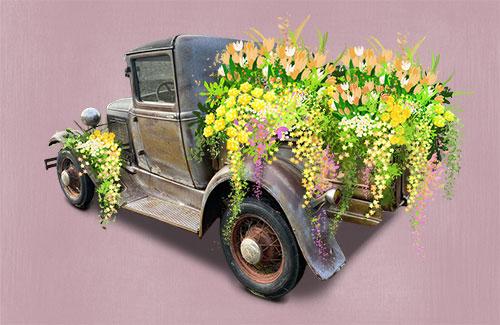 Oldtimer Ford Modell A mit Blumen als Event-Fahrzeug